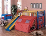 Multicolor Metal Bunk Bed with Slide and Tent by Coaster - 7239