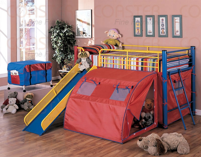 Multicolor Metal Bunk Bed With Slide And Tent By Coaster