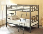 Twin/Twin Bunk Bed in Dark Silver Metal Finish by Coaster - 7395