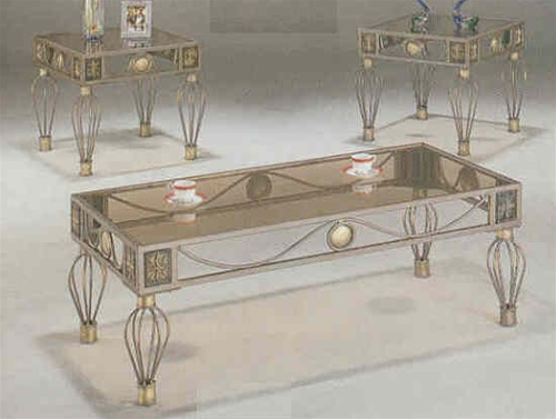 Antique Silver And Gold Finish Occasional Table Set With 5mm Smoked Glass Top By Coaster 7448