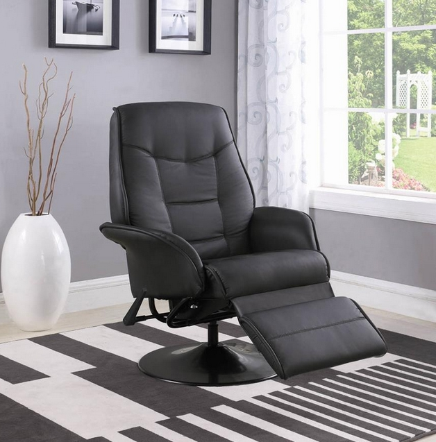berri black leatherette swivel recliner with flared arms by coaster 7501 - Swivel Recliner Chairs For Living Room 2