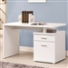 Reversible Writing Desk with File Drawer in White Finish by Coaster - 800110