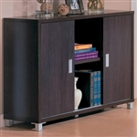 Decarie Home Office Credenza in Rich Dark Finish by Coaster - 800124