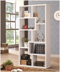 Bookcase Display Cabinet in White Finish by Coaster - 800136