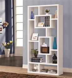 Wall Unit Bookcase in White Finish by Coaster - 800157