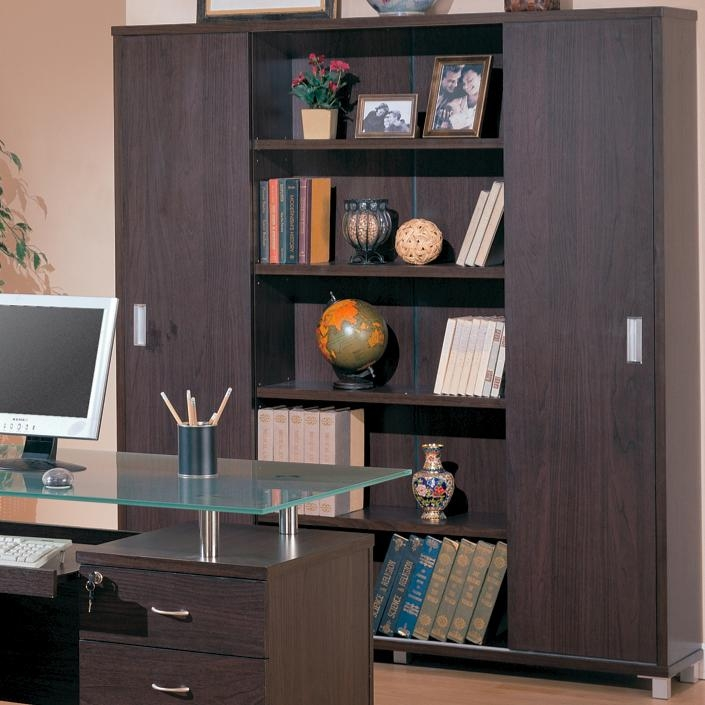 Decarie Home Office Sliding Door Bookcase In Rich Dark Finish By Coaster -  800203