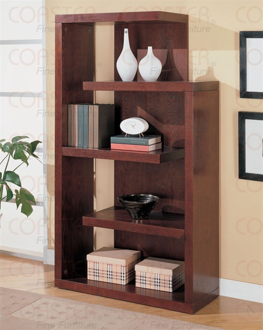 - Semi-Backless Bookcase In Warm Cappuccino Finish By Coaster - 800256
