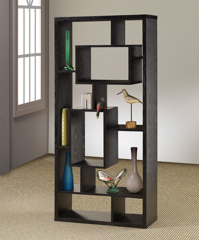 Bookcase display cabinet in black finish by coaster 800262 - Etagere rangement castorama ...