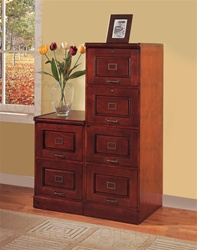 2 Piece 6 Drawer File Cabinet in Cherry Finish by Coaster - 800304S