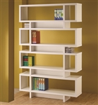 Contemporary Four Tier Open Bookcase in White Finish by Coaster - 800308