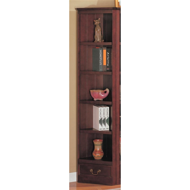 Louis Philippe Styled Corner Bookcase In Deep Rich Cherry