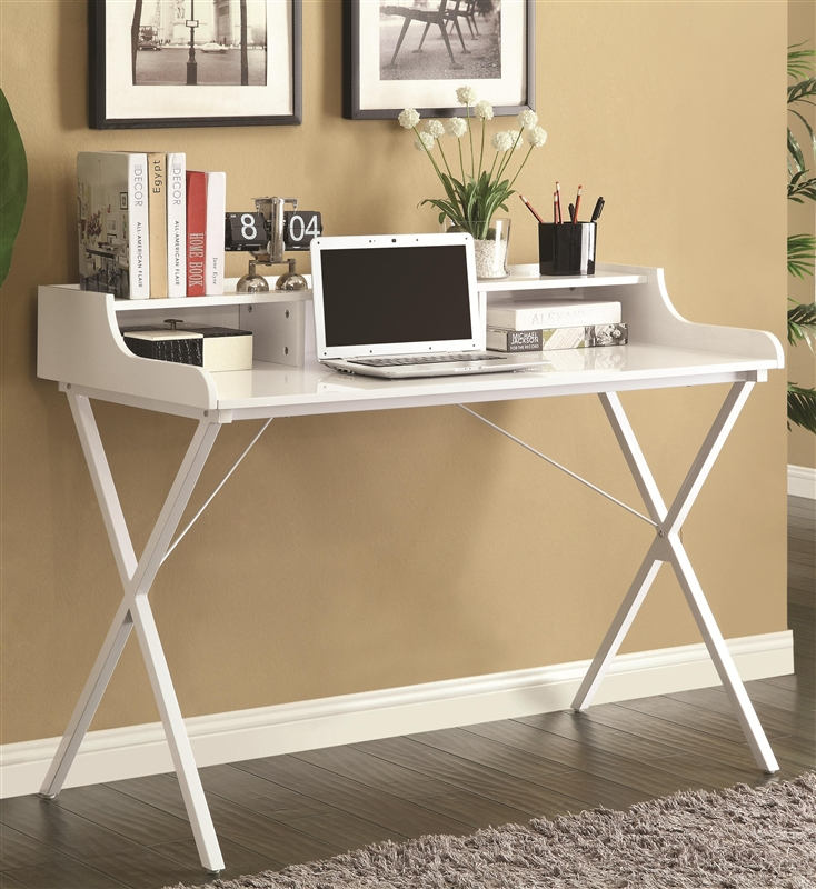 High Gloss White Desk By Coaster 800407