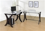 Division L-Shape Computer Desk Unit with Glass Top by Coaster - 800446