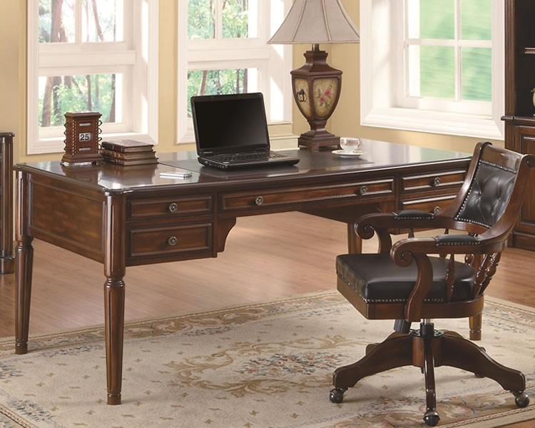 Paterson Desk In Walnut Finish By Coaster 800466