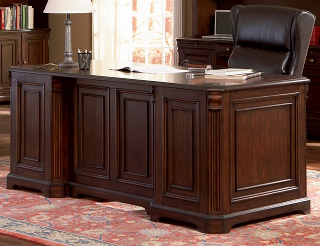 Home Office Executive Desk In Rich Dark
