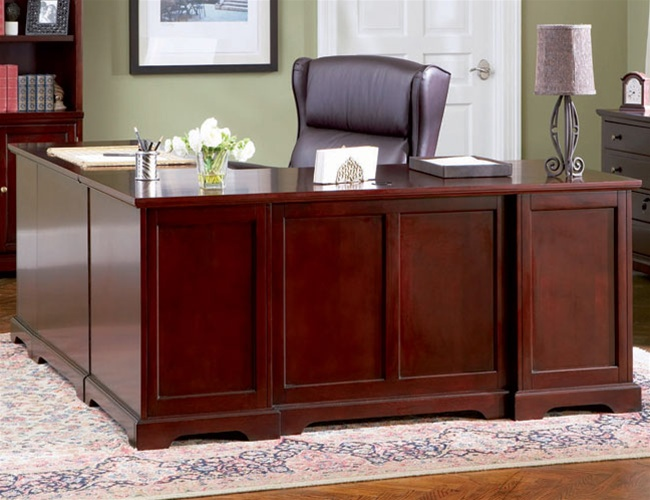 L Shaped Home Office Desk In Rich Cherry Finish By Coaster 800572