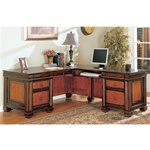 Home Office L-Shaped Executive Desk in Dark Two Tone Finish by Coaster - 800691