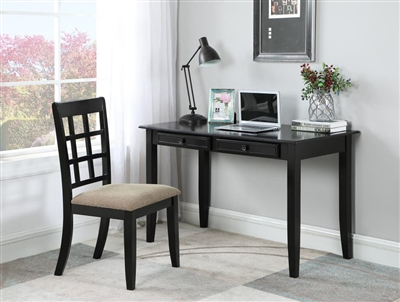2 Piece Home Office Desk and Chair in Black Finish by Coaster - 800779