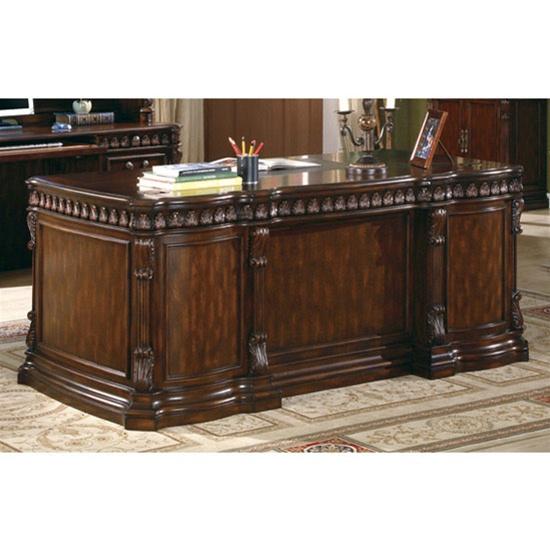 traditional home office executive desk in rich brown finish