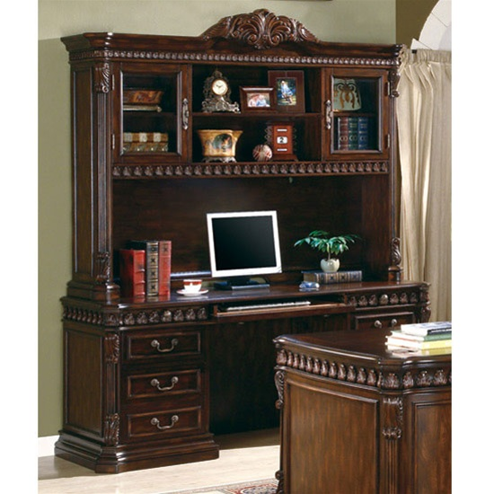 traditional home office computer desk with hutch in rich brown