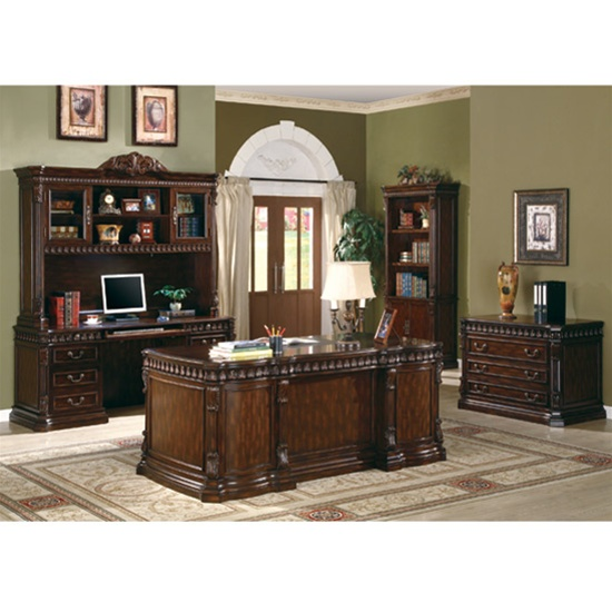 computer hutch home office traditional. Traditional Home Office Computer Desk With Hutch In Rich Brown Finish By Coaster - 800801