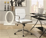 Office Chair in White Leatherette by Coaster - 800839