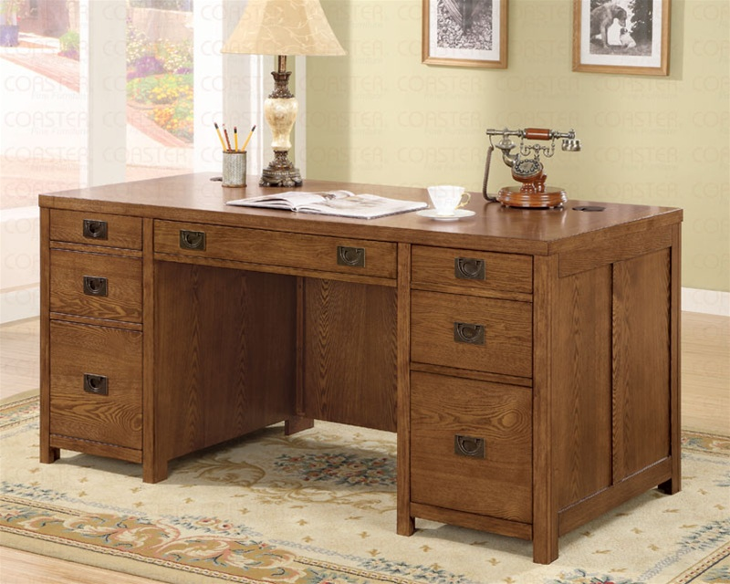 Home Office Executive Desk With Chair In Dark Oak Finish By Coaster 800871