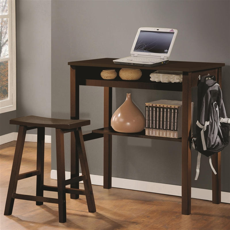 Famous Counter Height Wood Desk & Stool in Espresso Finish by Coaster  DF55