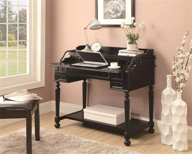 Lift Top Writing Desk In Black Finish By Coaster 800994