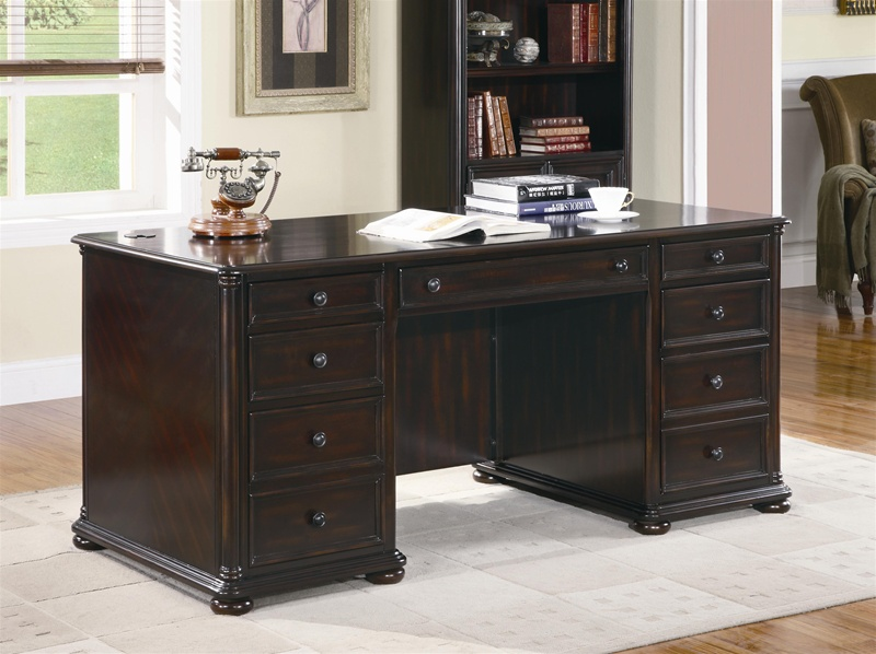 Scotland Pedestal Executive Desk In Rich Dark Brown Finish By Rh Homecinemacenter Com Chairs Glass