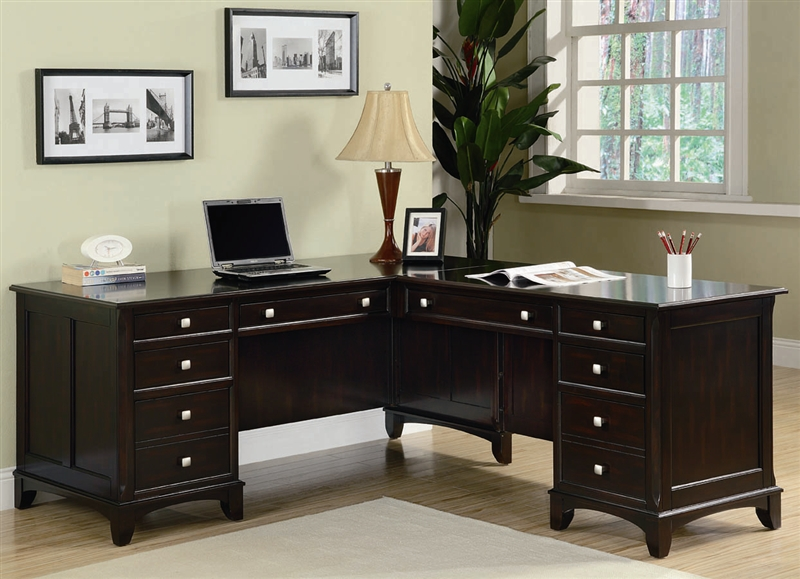 Garson Home Office Executive L Shaped Desk In Rich