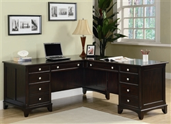Garson Home Office Executive L-Shaped Desk in Rich Cappuccino Finish by Coaster - 801011