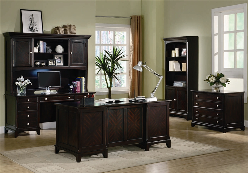garson home office executive desk in rich cappuccino finish by coaster 801012