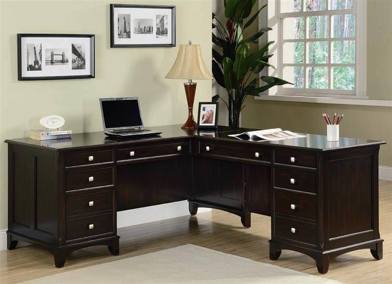 Garson Home Office Executive Desk in Rich Cappuccino Finish by Coaster -  801012 - Garson Home Office Executive Desk In Rich Cappuccino Finish By