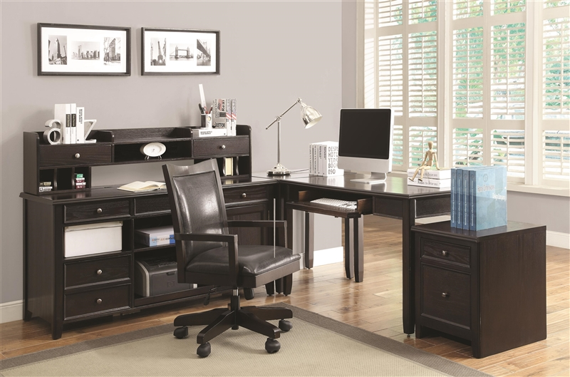Maclay 4 Piece L Shaped Desk Home Office Set In Dark Brown Finish By  Coaster   801191 S