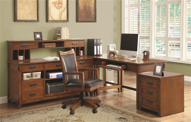 Home Office L Shaped Desk maclay 4 piece l-shaped desk home office set in red brown finish