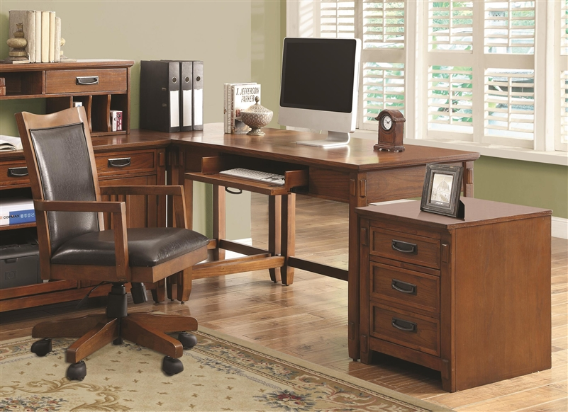 coaster shape home office computer desk. Maclay 4 Piece L-Shaped Desk Home Office Set In Red Brown Finish By Coaster - 801201-S Shape Computer