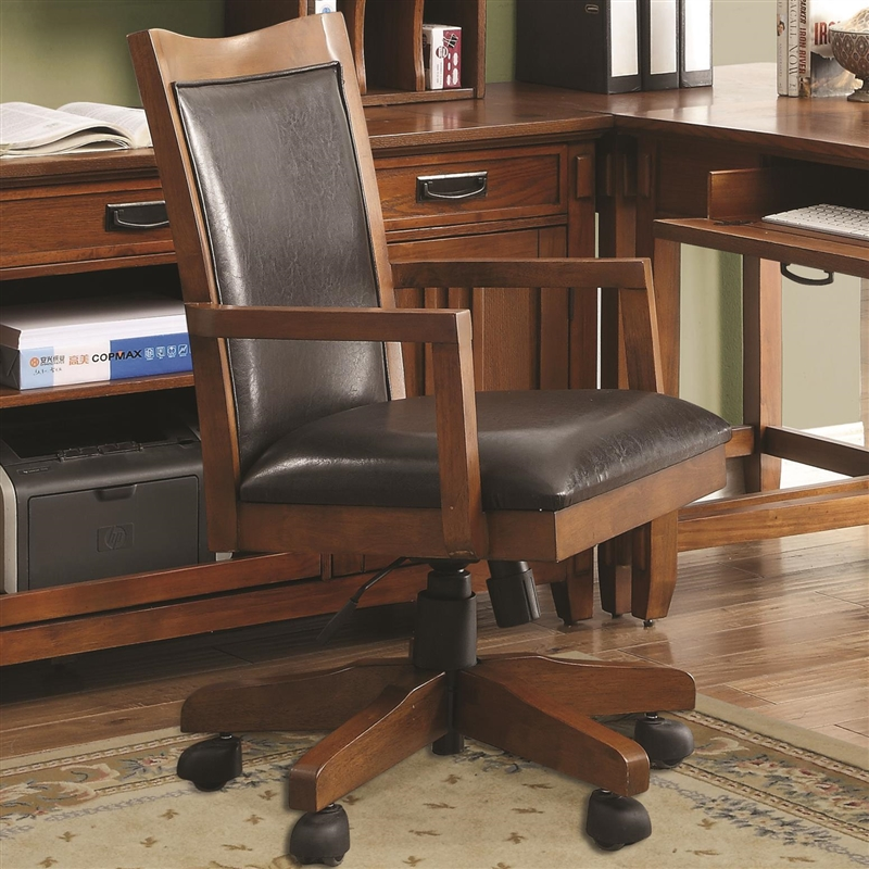 maclay 4 piece l-shaped desk home office set in red brown finish
