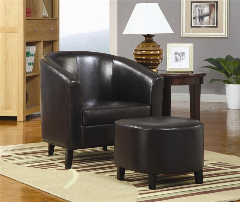 Amazing Black Vinyl Accent Chair And Ottoman By Coaster 900240 Inzonedesignstudio Interior Chair Design Inzonedesignstudiocom