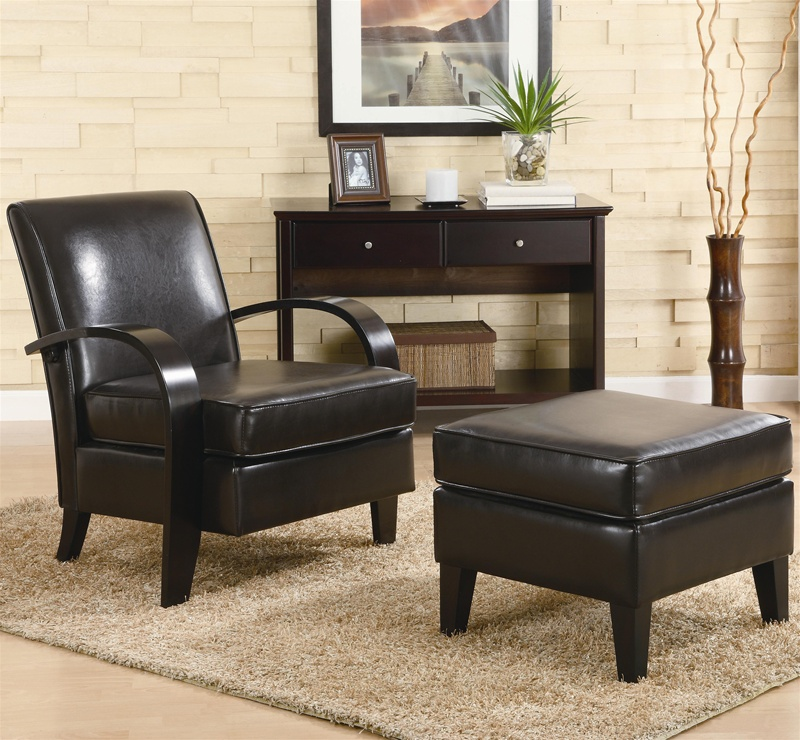 Awesome Bentwood Dark Brown Leather Accent Chair With Storage Ottoman By Coaster 900242 Ncnpc Chair Design For Home Ncnpcorg