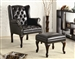 Black Vinyl Accent Chair and Ottoman by Coaster - 900262
