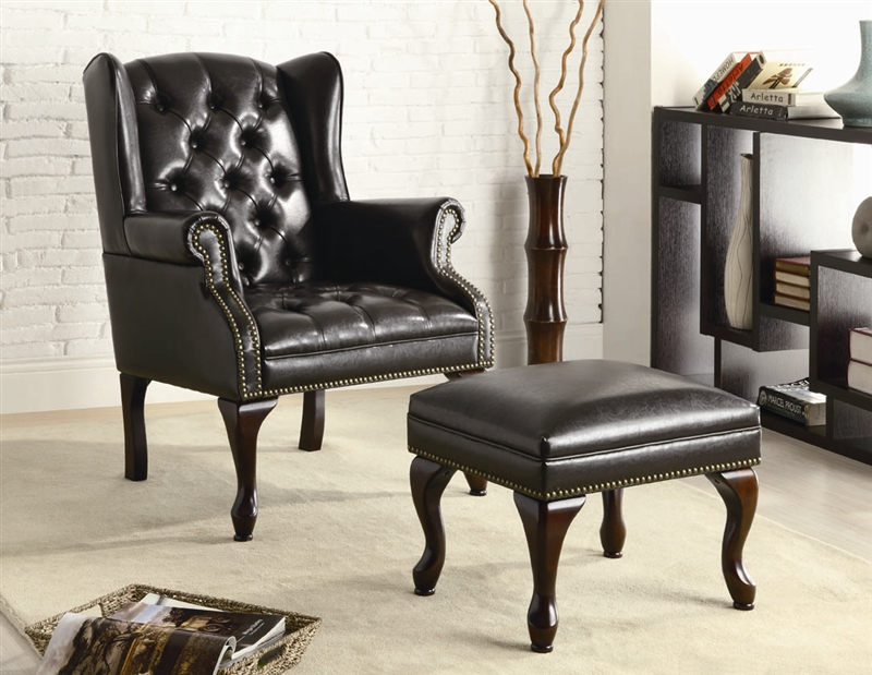 Miraculous Black Vinyl Accent Chair And Ottoman By Coaster 900262 Ncnpc Chair Design For Home Ncnpcorg