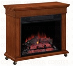 Rolling Electric Fire Place Mantel in Cherry Finish by Coaster - 900343