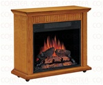 Rolling Electric Fire Place Mantel in Oak Finish by Coaster - 900344