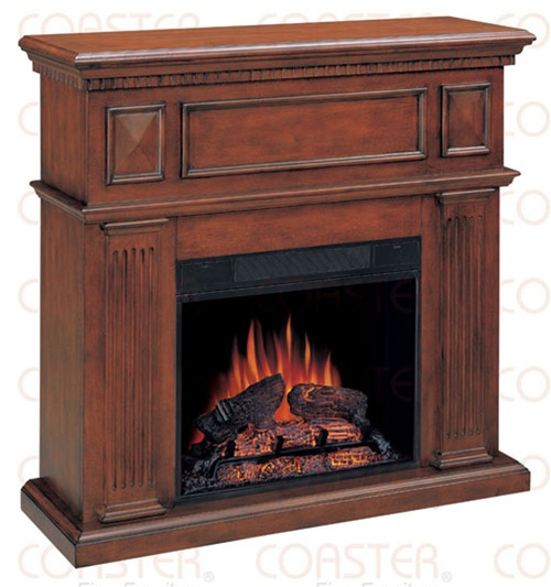 Decorative Electric Fireplace Wall Mantel In Mahogany Finish By Coaster 900352