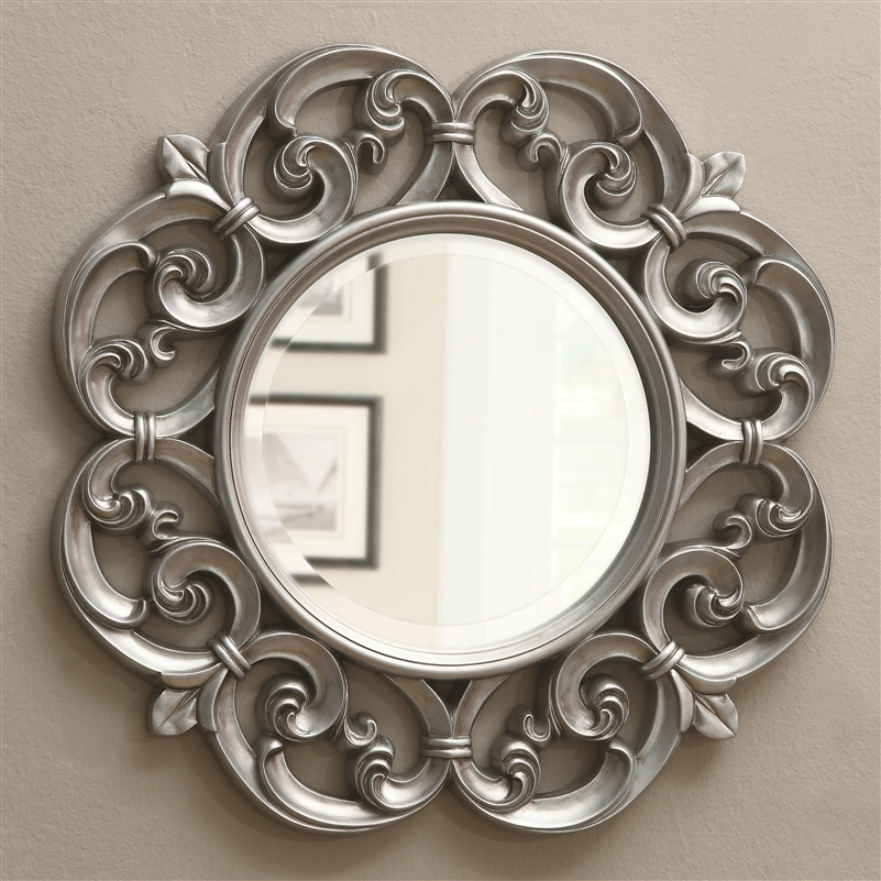 Silver Fleur De Lis Ornate Round Wall, Ornate Round Silver Wall Mirror