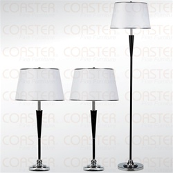 3 Piece Lamp Combo Chrome/Black by Coaster - 901164