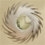Silver Spiral Design Round Wall Mirror by Coaster - 901736