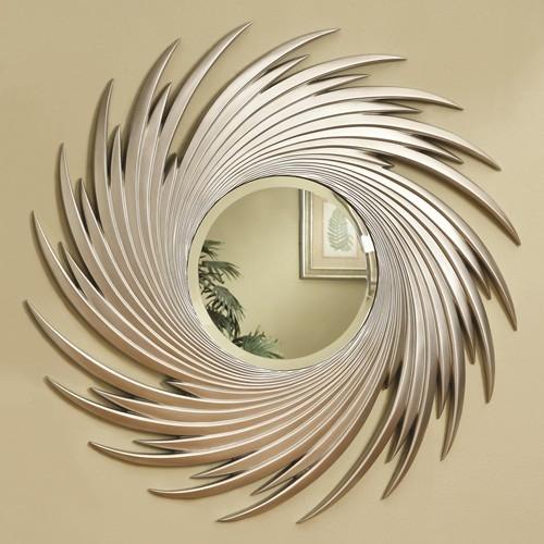Round Wall Mirror silver spiral design round wall mirrorcoaster - 901736