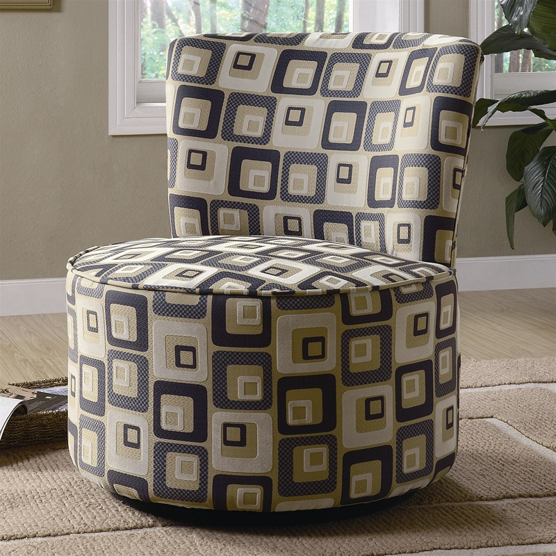 Retro Square Pattern Fabric Accent Seating Round Swivel